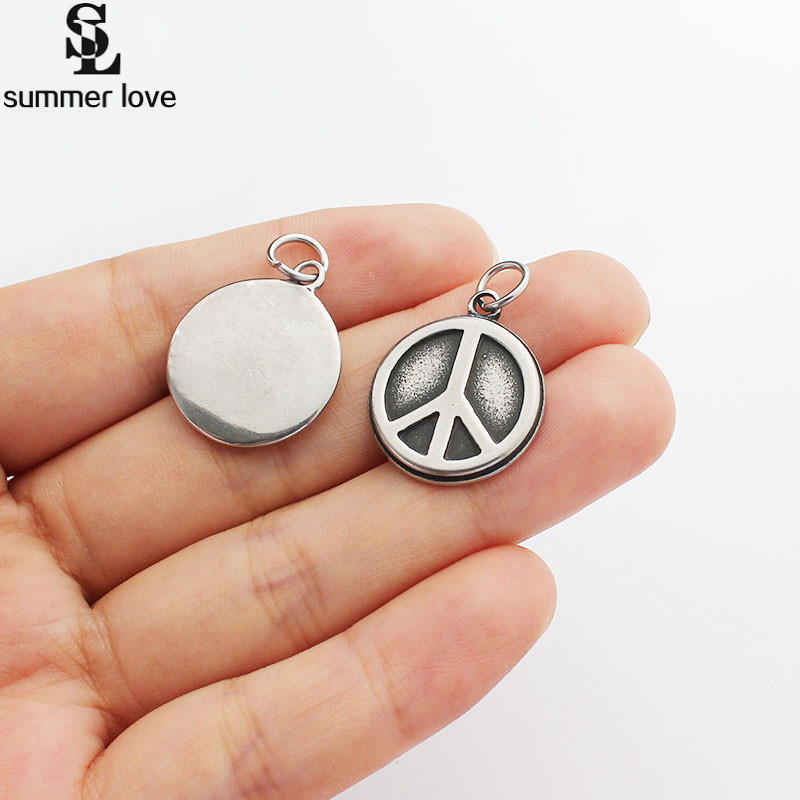 Summer Love Top Quality 5 Pcs Lot Metal World Peace Charm Anti-War Sign Charm Pendant 19mm Wire Bracele Findings Accessories