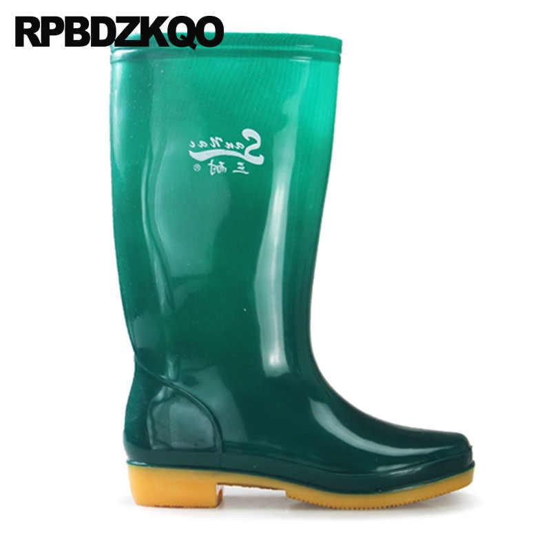 874925f7ce5c ... Mens Rubber Rain Boots Cheap Waterproof Designer Green Rainboots Tall  Plus Size 2018 Autumn Pvc Chunky ...