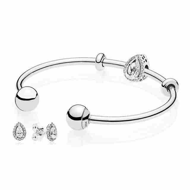 Kristie 100% 925 Sterling silver Radiant Teardrop Open Bangle and Earrings Set Clear CZ fit DIY charm Bracelets jewelry setKristie 100% 925 Sterling silver Radiant Teardrop Open Bangle and Earrings Set Clear CZ fit DIY charm Bracelets jewelry set