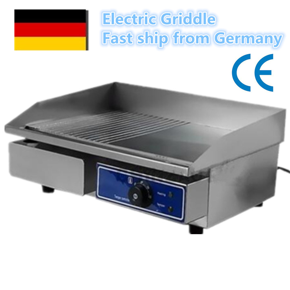 Brand New 1pc 220V 3000W Stainless Steel Flat Grooved Electric Griddles Fried Pans DL 818 2