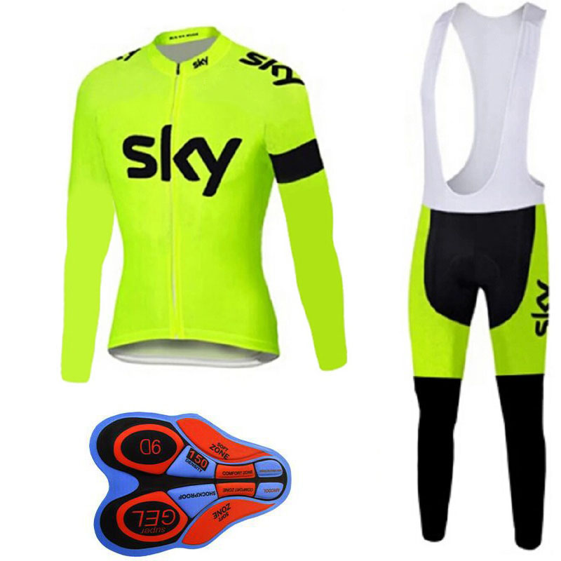 2018 SKY Pro team cycling clothing Breathable Men's Spring and autumn long sleeve MTB bike clothes Outdoor sports clothing set