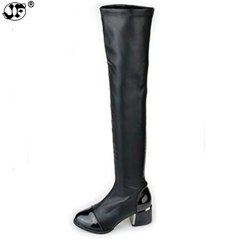 2019 new Fashion PU Leather Over Knee Boots Women Sequined Toe Elastic Stretch Thick Heel High Riding Boots Big Size 8562019 new Fashion PU Leather Over Knee Boots Women Sequined Toe Elastic Stretch Thick Heel High Riding Boots Big Size 856