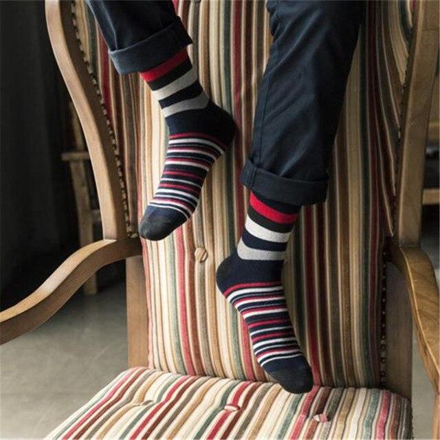 Skarpetki męskie bawełniane w modne paski