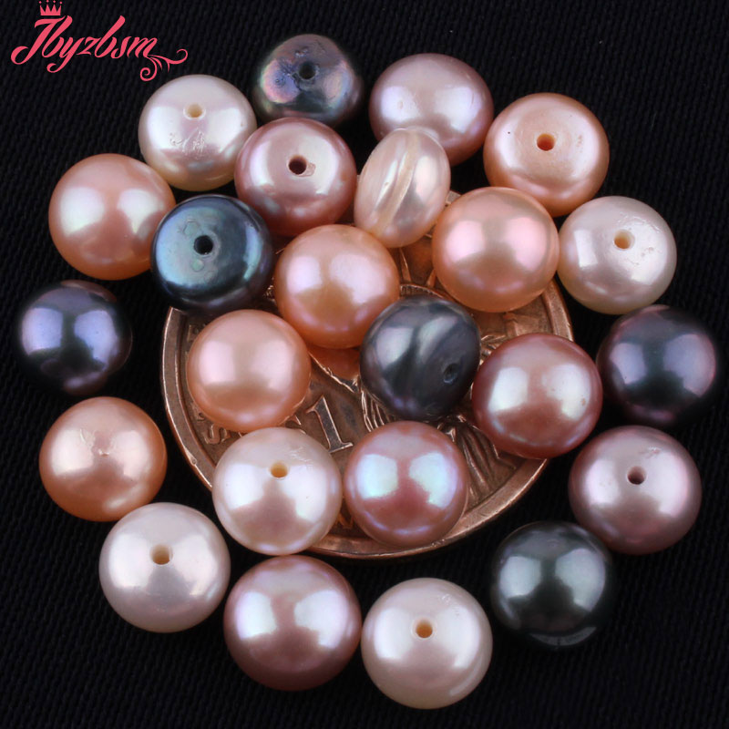 Beads Jewelry & Accessories 7-8mm Button Shape Genuine Pink Pearl Beads Half Drilling Genuine Pearl Beads For Earring Making Beads The Latest Fashion