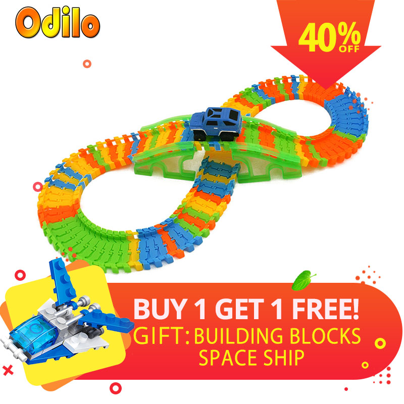 115PCS DIY Stunt Track Car Variety Rail Car Model Cross Bridge Recycle Run Educational Toy for Kids A-type