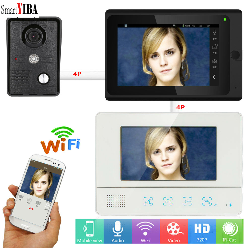 SmartYIBA Video Intercom 7 Inch LCD Wifi Wireless Video Door Phone Doorbell Intercom 1 Camera 2 Monitor System Android IOS APP