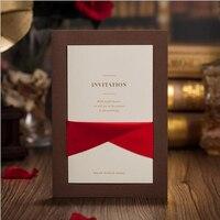 50 יחידות בראון הולו כרטיס הזמנות לחתונה לחתוך לייזר אישית מותאם אישית עם רצועת כלים & מעטפת מדבקות אספקת מסיבת חתונה