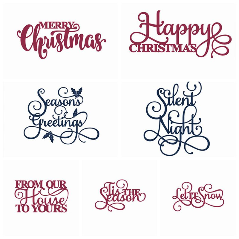 merry christmas words metal cutting dies stencil for diy scrapbooking photo album embossing paper cards making