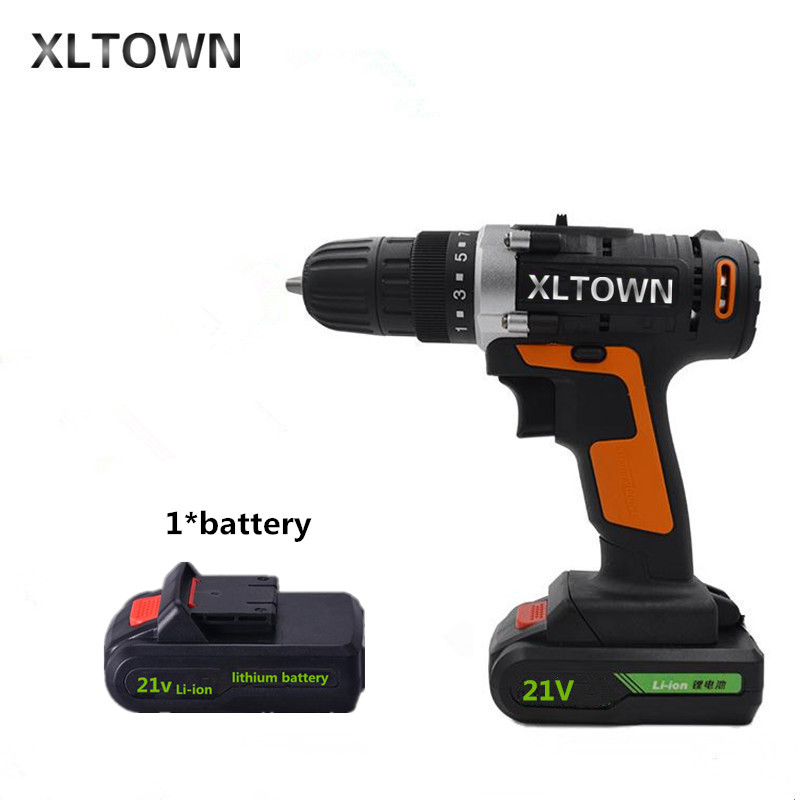 Xltown 21v Cordless Two Speed Electric Drill Lithium Battery Rechargeable Electric Screwdriver Household power tools