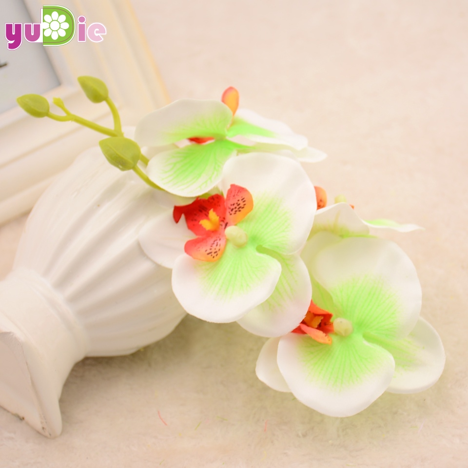 2pcs Phalaenopsis Orchid Silk Real Touch Flower White Artificial