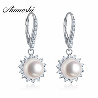 AINUOSHI Luxury Women Engagement Earring Natural White Freshwater Pearl Drop Earring Real 925 Sterling Silver Wedding Jewellry