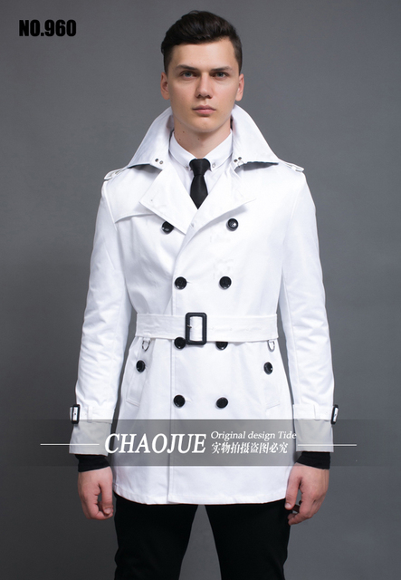 2016 \ dos homens estilo britânico de forma magro trench coat outwear médio-longo plus size casaco de roupas masculinas! S-5XL
