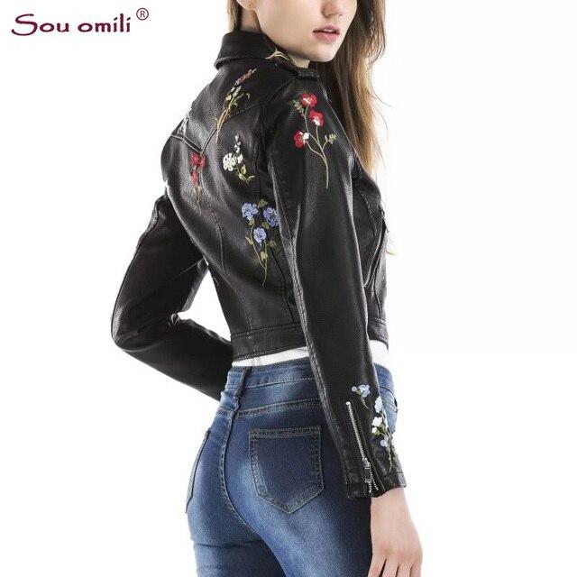 Fiori Ricamo Nero Donne Giacca di Pelle Punk Moto Cappotto chaquetas Giacca  jaquetas couro Casaco Rosa a89fca565f0