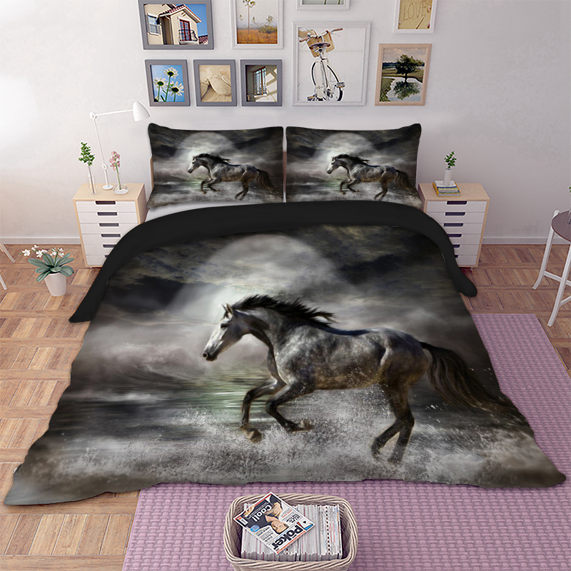 Horse Bedding Set Twin Full Queen King AU Single UK Double Size Aniaml Duvet Cover Pillow Cases 3D Bed linen 3pcs