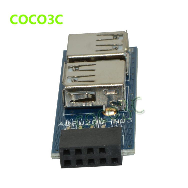 Motherboard USB Hub 9pin To 2 Port USB 2.0 10pin Female Header To Dual USB2.0 A Female Port Converter Card
