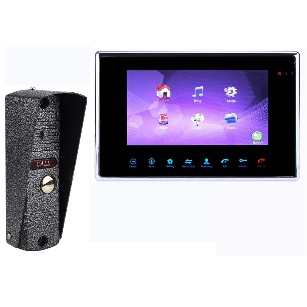 TIVDIO 7 TFT 800TVL Wired Video Intercom Doorbell Rainproof Door Phone Camera For CCTV Home Security Video Door System F1355D