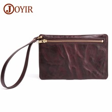 цена JOYIR 100% Genuine Leather Men Business Clutch Wallets Mobile Phone Case Purse Pouch Cowhide Leather Male Handy Bag Long Wallet онлайн в 2017 году