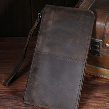 Genuine Leather Men Clutch Bag Vintage Long Zipper Wallet