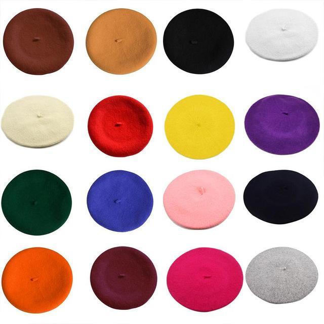 Winter Hat Beret Wool Cotton Blend Cap 16 Color Black White Gray Pink 5