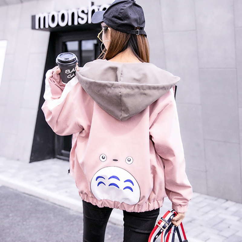 2019 Autumn Jacket Womens Streetwear Patchwork Hooded Totoro Jackets Kawaii Basic Coats harajuku Outerwear chaqueta mujer 41