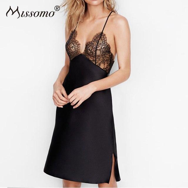 Missomo Koronki Koszule Nocne Sleepshirts Sexy Kobiety Bielizna Bez Rękawów Piżamy Pasek Głęboki Dekolt Homewear Koszula Nocna