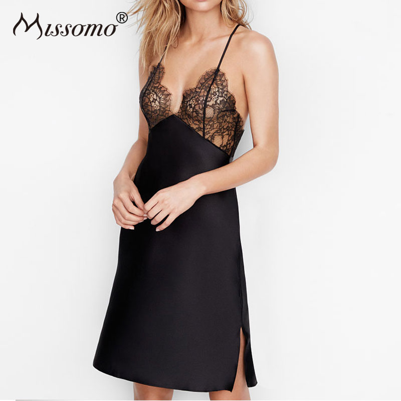 Missomo Lace Nightgowns Sleepshirts Sexy  Women Lingerie Sleeveless Sleepwear Strap Deep V-neck Homewear Nightdress