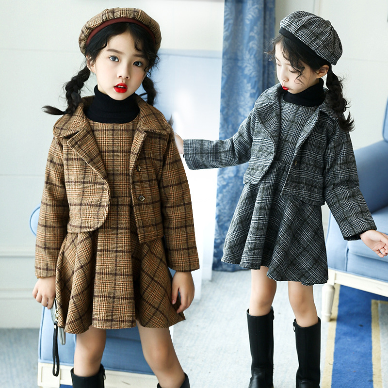 Girls Autumn and Winter Clothing Sets Plaid Dress + jacket Children Dress Outfits защитная пленка liberty project защитная пленка lp для lenovo vibe x s960 прозрачная