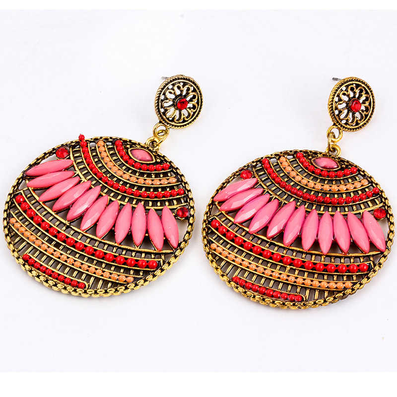 Bohemian Hollow Round Drop Dangle For Women 2019 India Ethnic Blue Golden Statement Earrings Female Brincos Jewelry Accessories