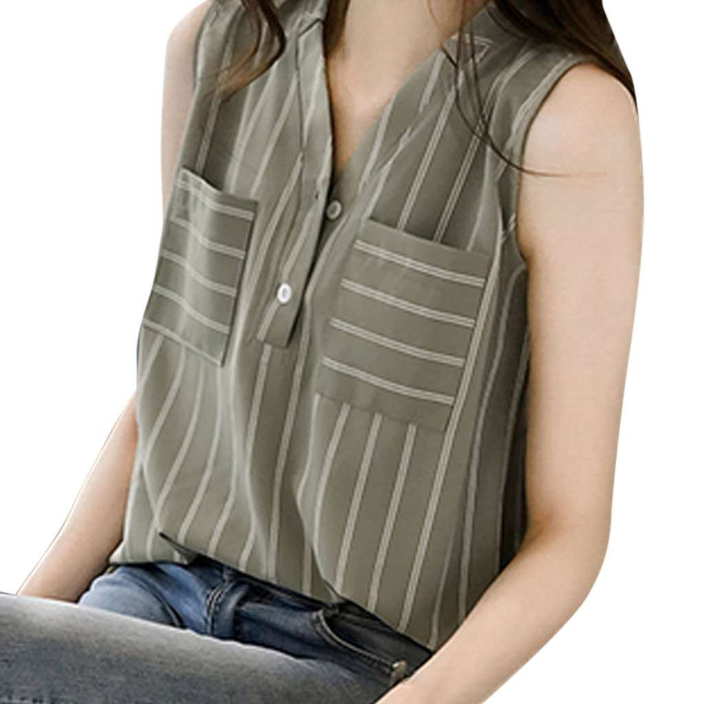 SAGACE   blouses   woman 2019 plus size Women   Shirt   Sleeveless Stripe Chiffon Top V-Neck   Blouse     Shirt   Summer Tops   Blouse   Tops Tees