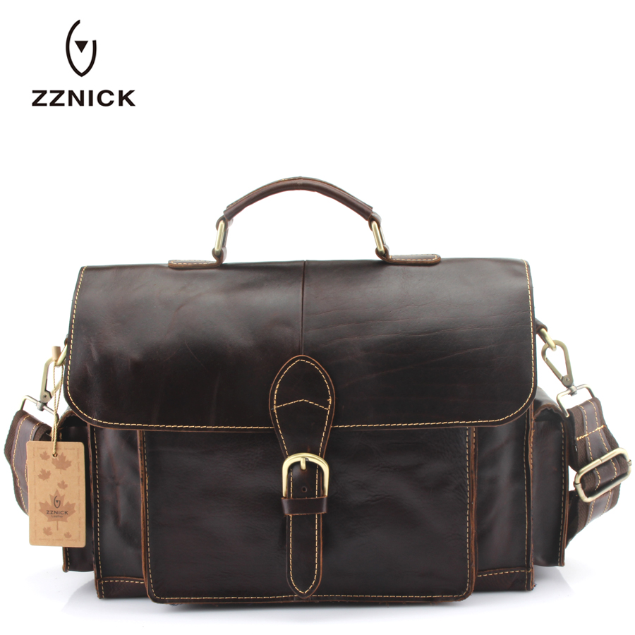 ZZNICK 2018 Genuine Leather bag Business Men bags Laptop Tote Briefcases Crossbody bags Shoulder Handbag Men's Messenger Bag zznick 2018 new men s messenger bag men genuine leather business bags laptop tote briefcases crossbody bag shoulder handbags