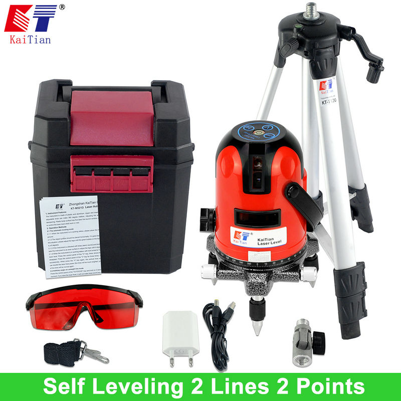 Kaitian Tripod Laser Level with 360 Rotary Self Leveling Outdoor Tilt Function Euro Plug 635nM 2 Lines 2 Points Cross Line Level xeast xe 50r new arrival 5 lines 6 points laser level 360 rotary cross lazer line leveling with tilt function