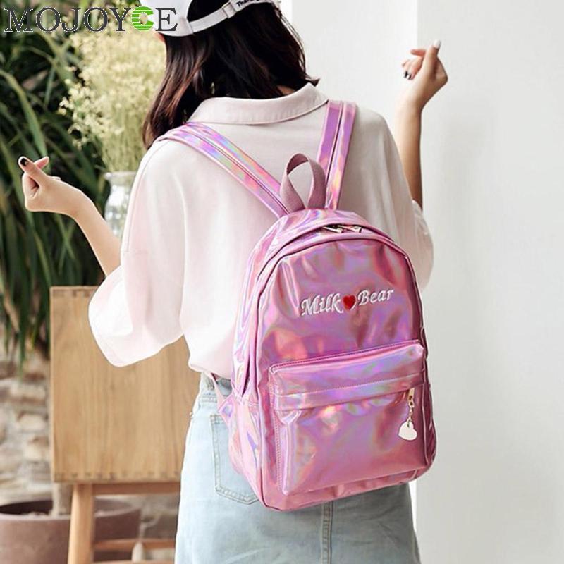 Mini Borse Da Viaggio Argento Blu Rosa Laser Zaino Delle Ragazze Delle Donne del Sacchetto di Cuoio DELL'UNITÀ di elaborazione Olografica Zaino Borse da Scuola per le Ragazze Adolescenti