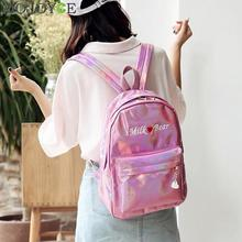 Mini Travel Bags Silver Blue Pink Laser Backpack