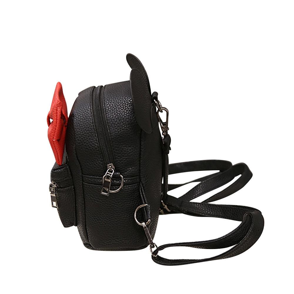 HTB1kY.yCaSWBuNjSsrbq6y0mVXan 2018 New Mickey Backpack Pu Leather Female Mini Bag Women's Backpack Sweet Bow Teen Girls Backpacks School Lady Bag Shoulder bag
