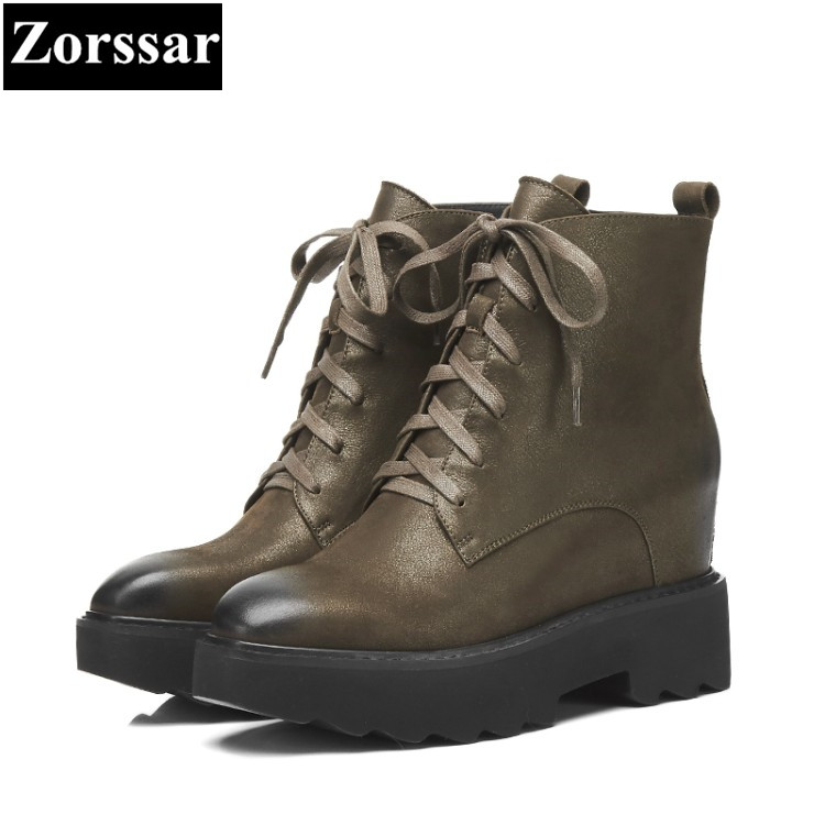 {Zorssar} 2018 NEW Large size Women Boots platform High heels lace up ankle Motorcycle boots Autumn winter womens shoes new spring autumn women boots black high heels thick heel boots lace up platform ankle boots large size 34 43