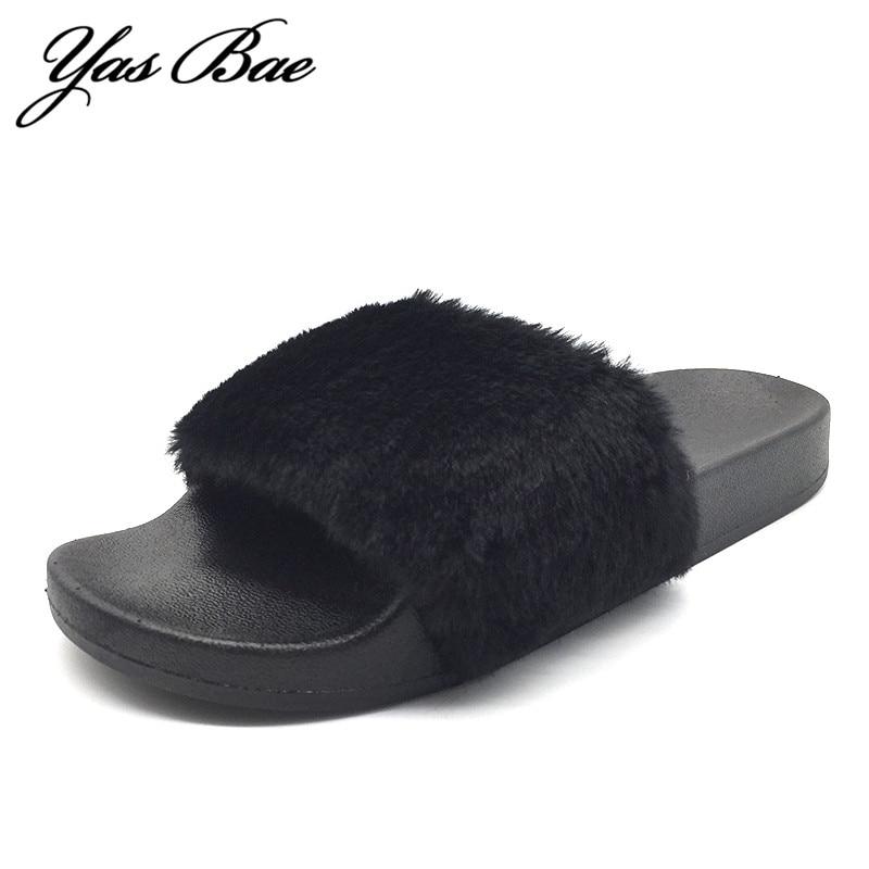 20208b68317a1 2016 Hot Sale Luxury Winter Plush Leather Furry Flip Flops House Fuzzy Fur  Soft Bedroom Australian ...