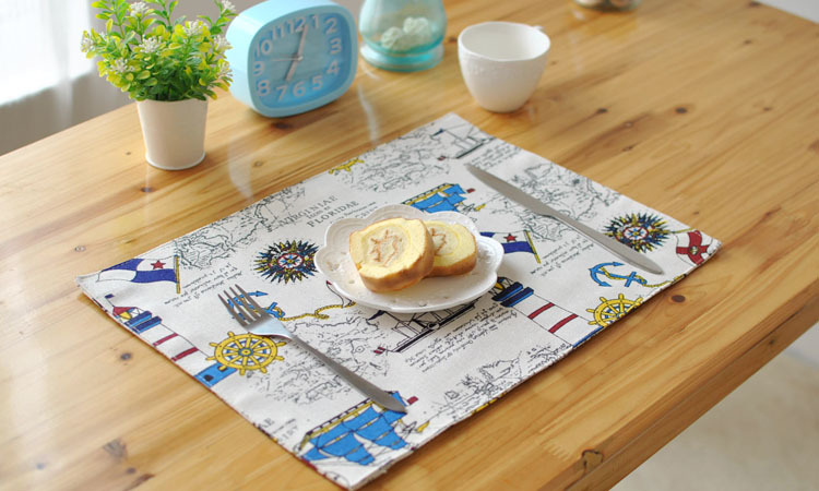 [RainLoong] European Anchor Boat Print Table Mat Pad Thermal Insulation For Tableware Dinning Bar Kitchen Decoration 40x30cm