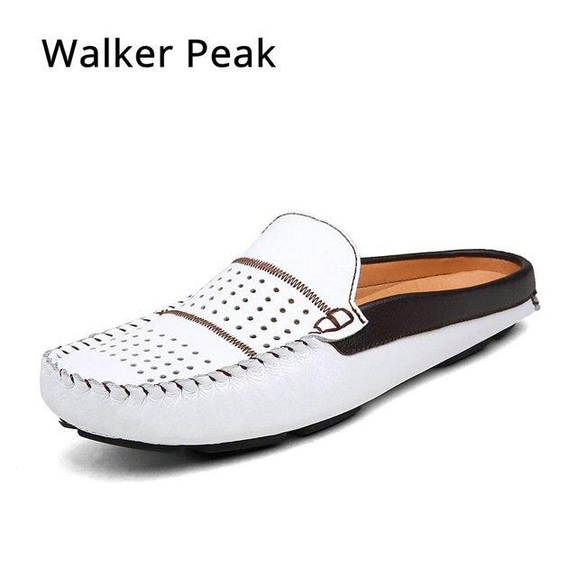 2018 fresco funcional cuero genuino Zapatos Hombre mocasines verano, marca cuero masculino transpirable zapatos casuales sandalias slilppers