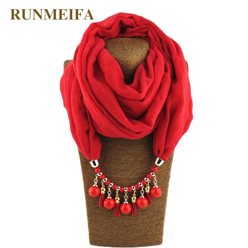 RUNMEIFA Multi-style Decorative Jewelry Necklace Resin Beads Pendant Scarf Women Foulard Femme Head Scarves Hijab Scarfs