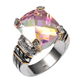 Hot Sale Rose Rainbow Simulated Topaz 925 Sterling Silver High Quantity Ring For Men and Women Size 6 7 8 9 10 F1339