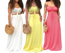 2019 new women summer beach sexy tie up strapless crop top long slim skirt suit two piece set sexy party club long dress