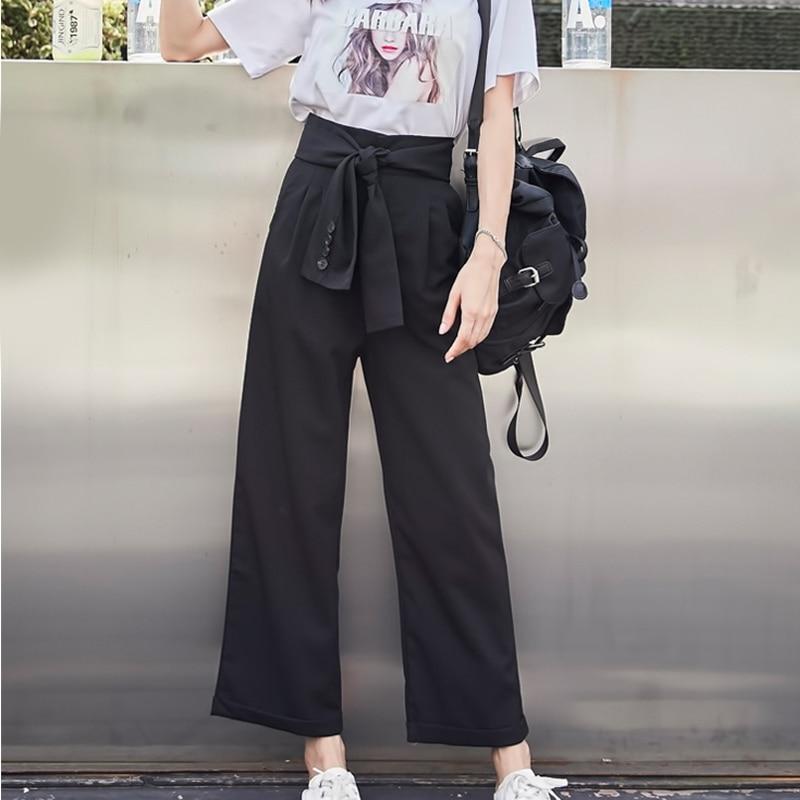 Sashes alta cintura mujeres pantalones de pierna ancha recta Correa puños tobillo  longitud pantalones para las mujeres otoño ropa de verano de la señora en  ... 571063f7ae5