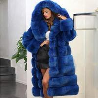 шуба из искусственного меха С капюшоном пальто с мехом из искусственного меха норки пальто 2018 Новая модная зимняя одежда с капюшоном длинно