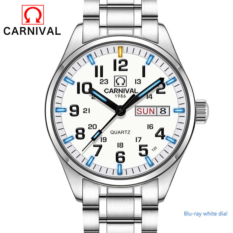 все цены на New Double calendar Date Tritium Luminous Quartz military watch waterproof 200M CARNIVAL Sport Brand Watches Mens full steeI в интернете