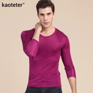 Image 3 - 100% gerçek ipek erkek t shirt sonbahar kış tam uzun kollu V boyun adam vahşi siyah beyaz renk erkek dip tee gömlek Tops