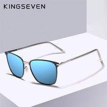 6011826aecfe3 Moldura de Aço Inoxidável de DESIGN DA MARCA Óculos De Sol Dos Homens  Polarizados Lente UV400 KINGSEVEN Óculos Masculinos Conduç.