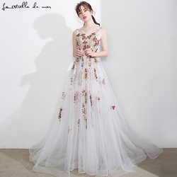 37a1c9920 Vestido madrinha casamento longo2018 new sexy v neck tulle embroidery flower  pattern beige bridesmaid dress see