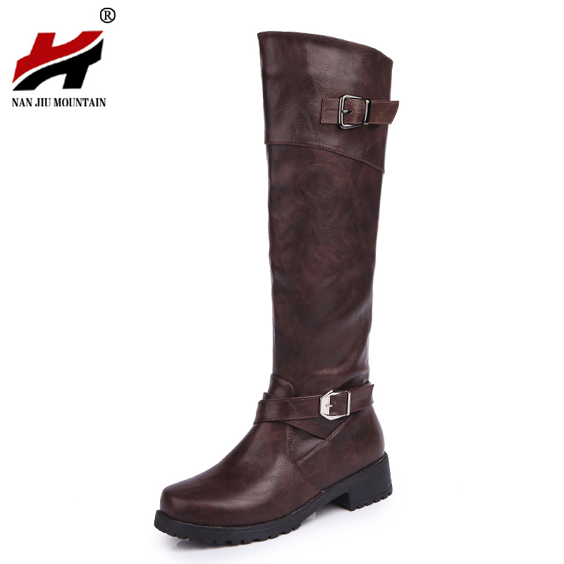 2017 Vintage Classic Style Hoof Heel Mid Calf Boots Women's Fashion Comfortable Shoes double buckle cross straps mid calf boots