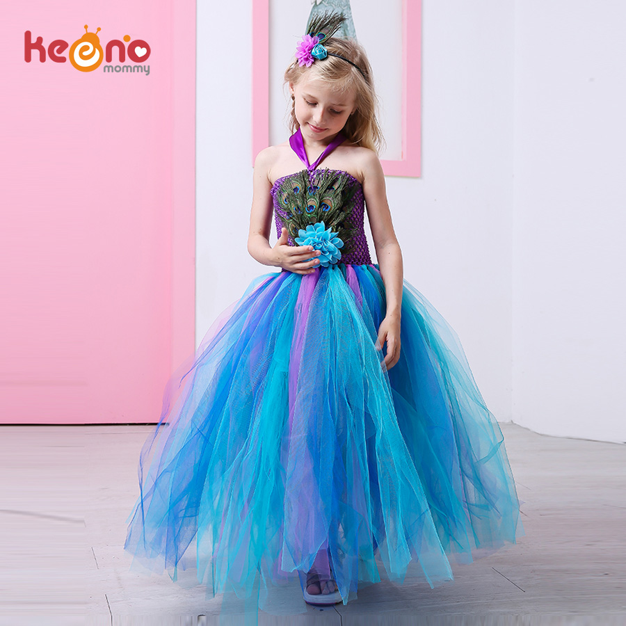 Peacock Feather Girl Tutu Dress Baby with Hair Accessories  Halloween Pageant Wedding Glam Costume Party Outfit