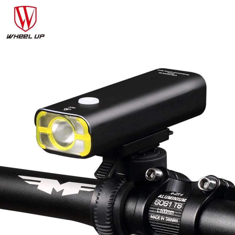 ROUE UP Usb Rechargeable Lumière De Vélo Avant Guidon Vélo Led Lumière Batterie lampe de Poche Torche Phare Vélo Accessoires